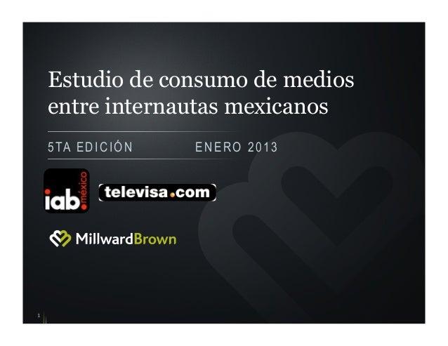 Estudio de consumo de mediosentre internautas mexicanos5TA EDICIÓN ENERO 20131