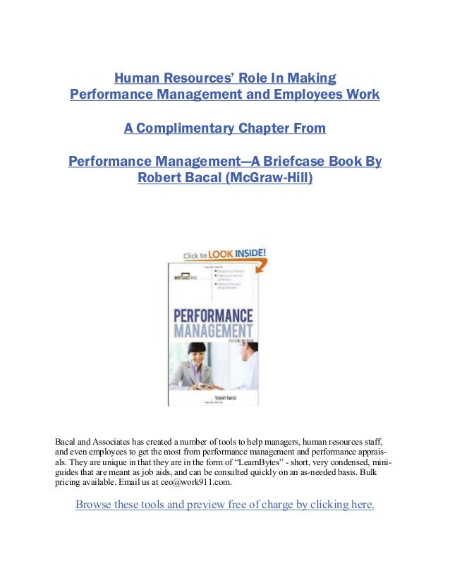 Human Resources' Role In MakingPerformance Management and Employees WorkA Complimentary Chapter FromPerformance Management...