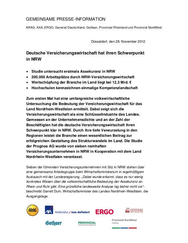 GEMEINSAME PRESSE-INFORMATIONARAG, AXA, ERGO, Generali Deutschland, Gothaer, Provinzial Rheinland und Provinzial NordWest ...