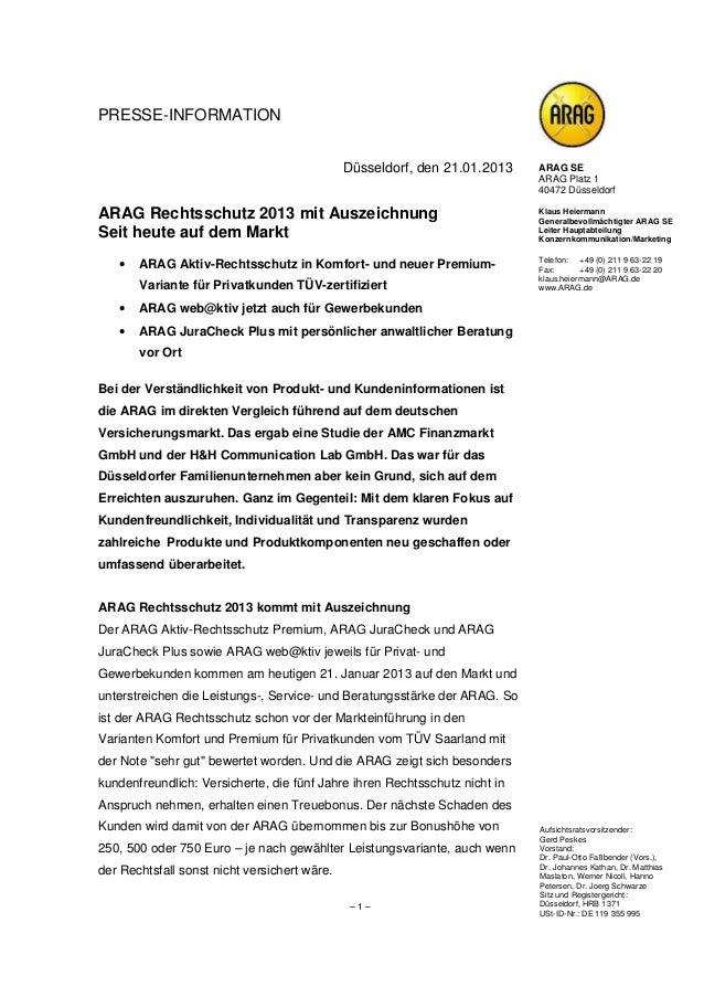 PRESSE-INFORMATION                                              Düsseldorf, den 21.01.2013    ARAG SE                     ...