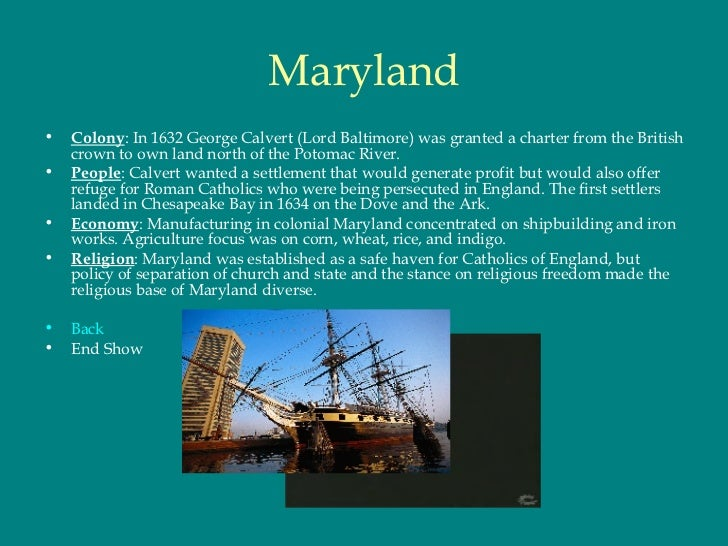 Maryland Colony Climate And Geography