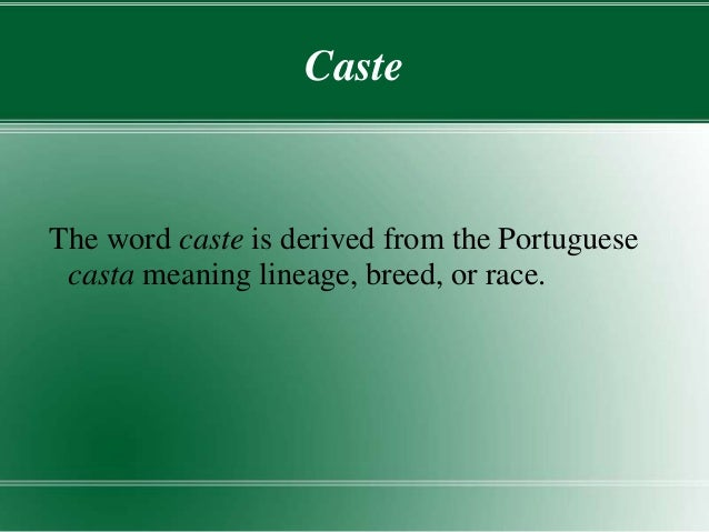 what is the meaning of caste