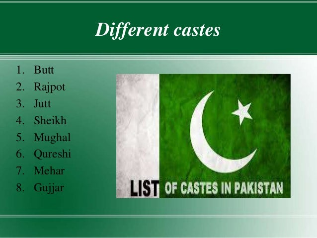 caste system in pakistan