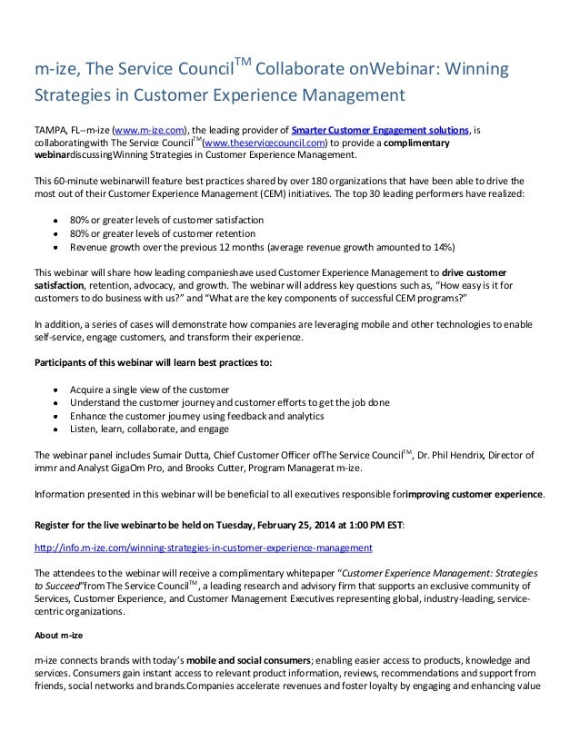 m-ize, The Service CouncilTM Collaborate onWebinar: Winning Strategies in Customer Experience Management TAMPA, FL--m-ize ...