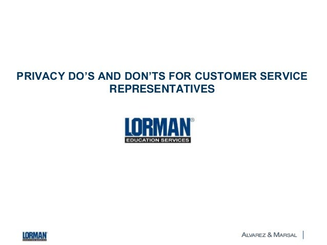 PRIVACY DO'S AND DON'TS FOR CUSTOMER SERVICE REPRESENTATIVES