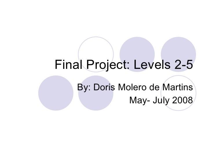 Final Project: Levels 2-5 By: Doris Molero de Martins May- July 2008