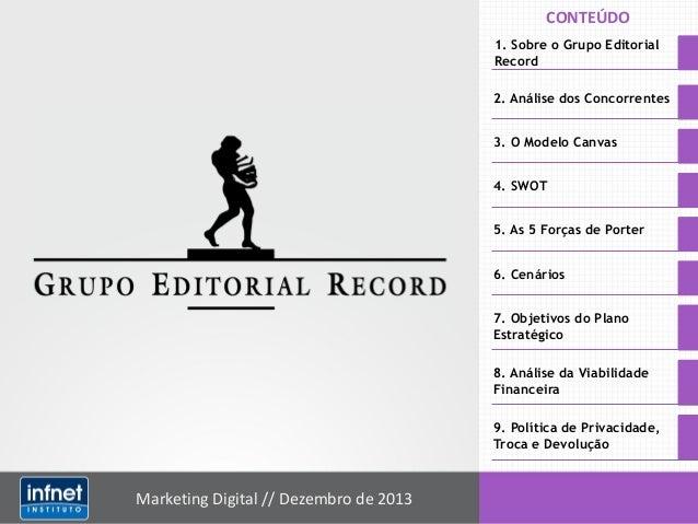 CONTEÚDO 1. Sobre o Grupo Editorial Record 2. Análise dos Concorrentes  3. O Modelo Canvas 4. SWOT 5. As 5 Forças de Porte...