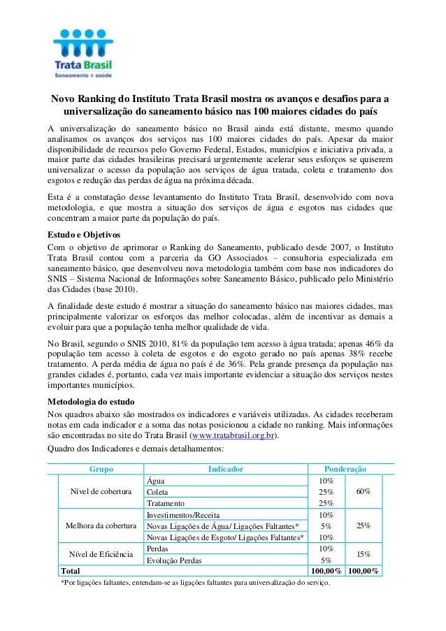 Novo Ranking do Instituto Trata Brasil mostra os avanços e desafios para a universalização do saneamento básico nas 100 ma...