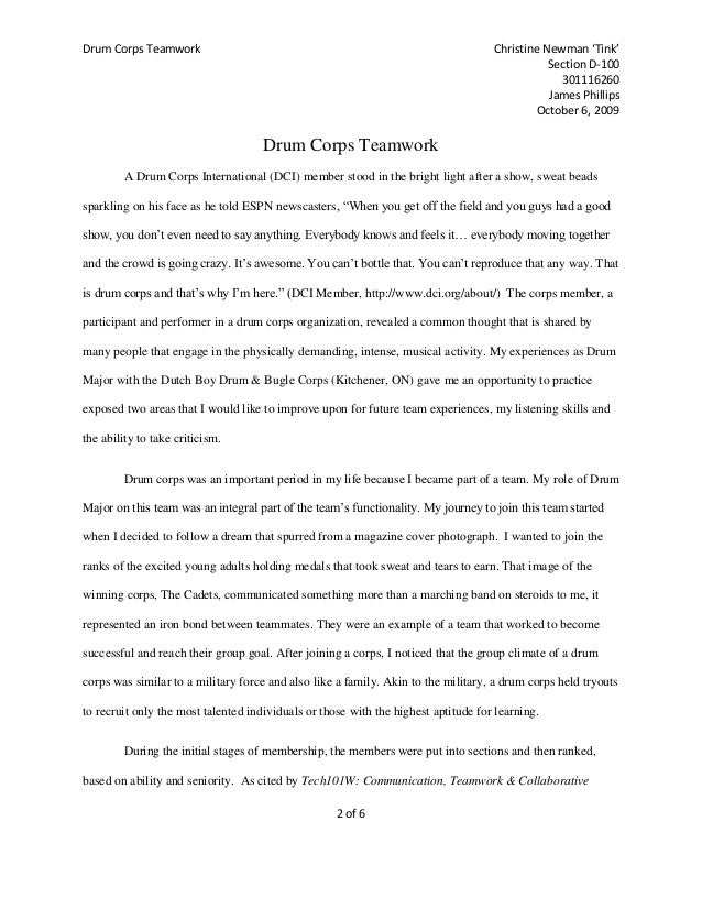 drum corps teamwork essay
