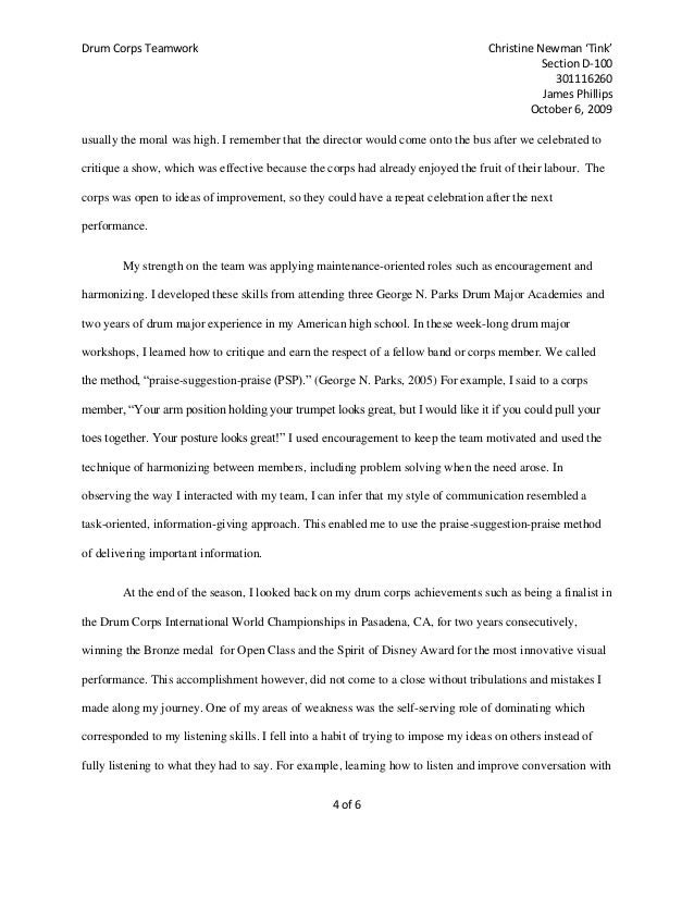 drum corps teamwork essay 4
