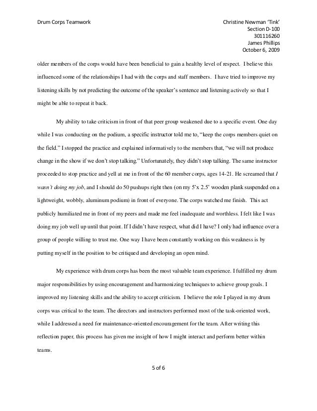 drum corps teamwork essay  5