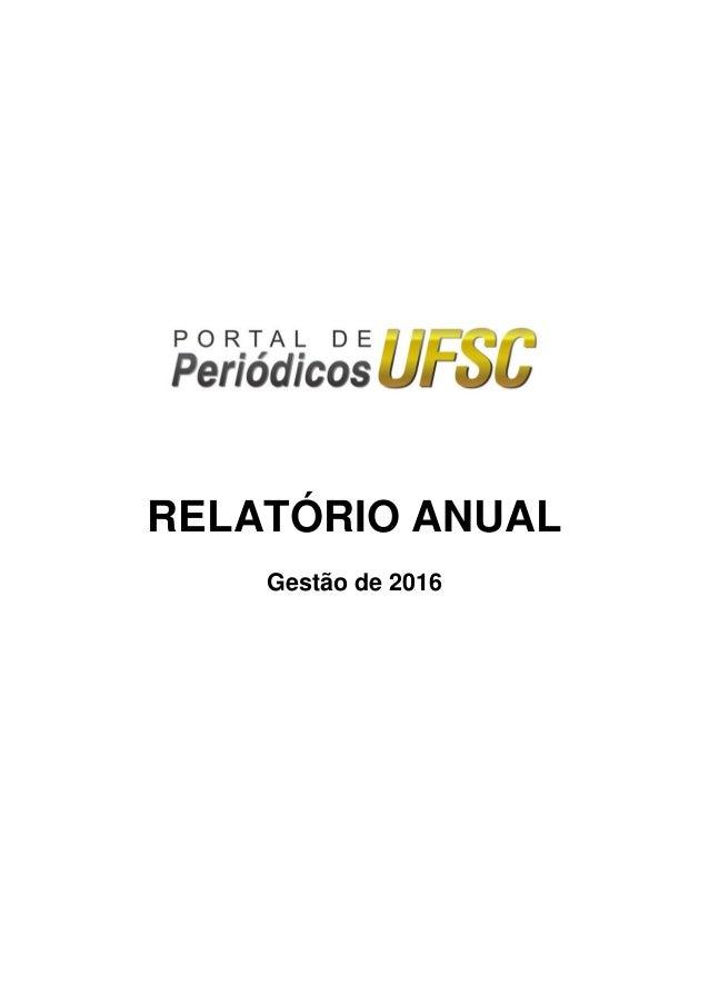 RELATÓRIO ANUAL Gestão de 2016