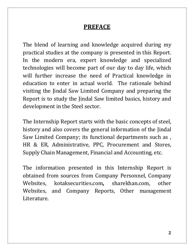 Preface For Summer Internship Report College Paper Academic Service