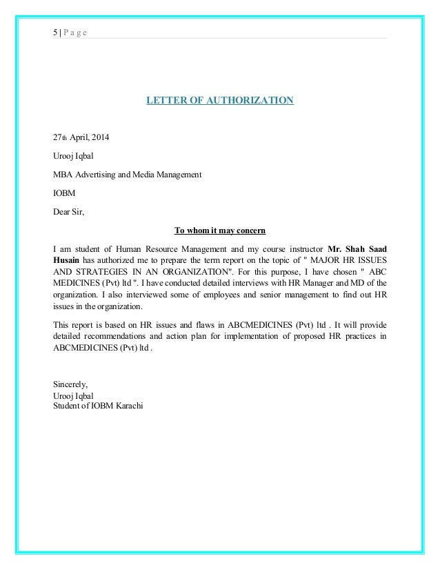 Authorization Letter Tor Students Should Authorization