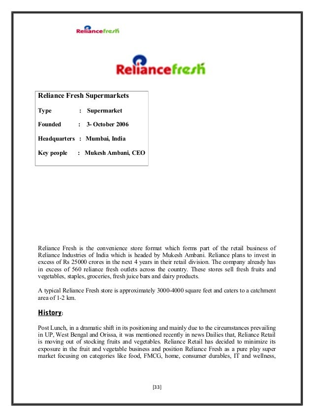 a study on reliance fresh