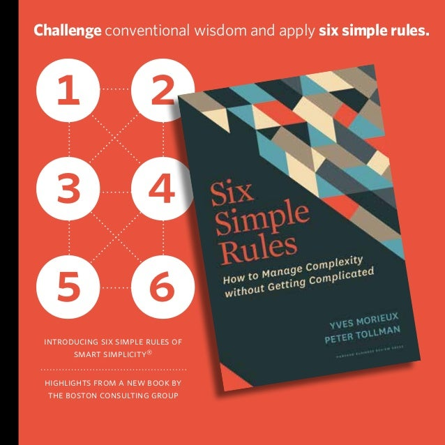 introducing six simple rules of smart simplicity® highlights from a new book by the boston consulting group 1 2 3 4 5 6 Ch...