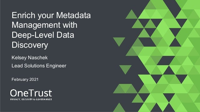 Enrich your Metadata Management with Deep-Level Data Discovery Kelsey Naschek Lead Solutions Engineer February 2021
