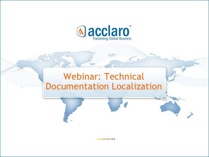 Webinar: Technical  Documentation Localization