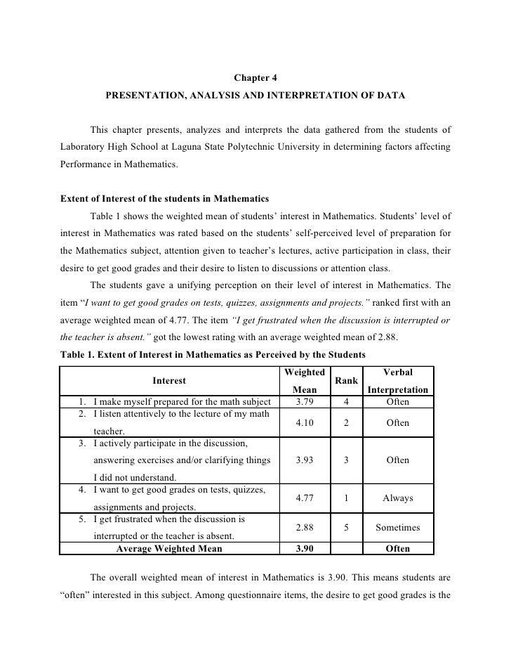 Presentation and interpretation of data thesis