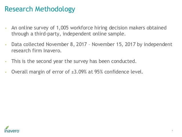 Research Methodology • An online survey of 1,005 workforce hiring decision makers obtained through a third-party, independ...