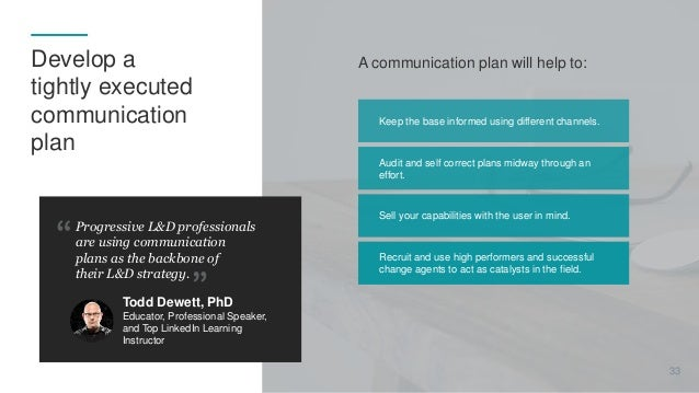 A communication plan will help to: Progressive L&D professionals are using communication plans as the backbone of their L&...