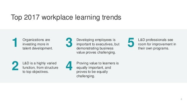1 Organizations are investing more in talent development. 2 L&D is a highly varied function, from structure to top objecti...