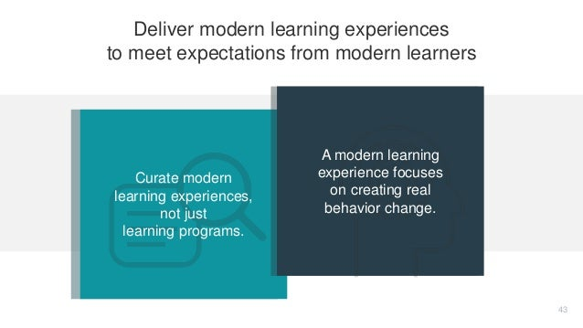 Curate modern learning experiences, not just learning programs. A modern learning experience focuses on creating real beha...