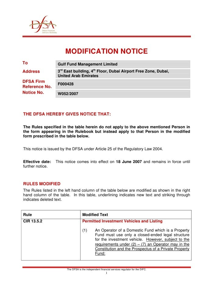 MODIFICATION NOTICE To                 Gulf Fund Management Limited Address            3rd East building, 4th Floor, Dubai...