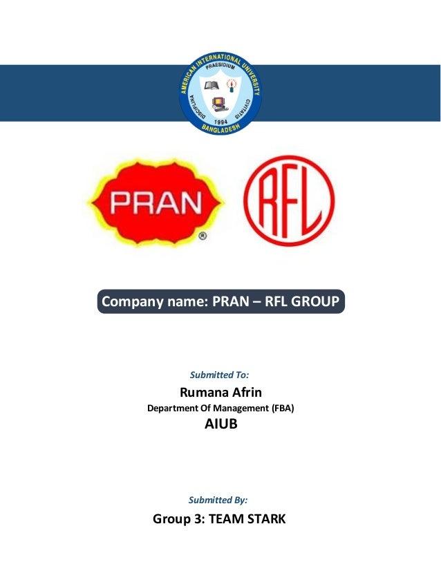 pran rfl marketing internship report