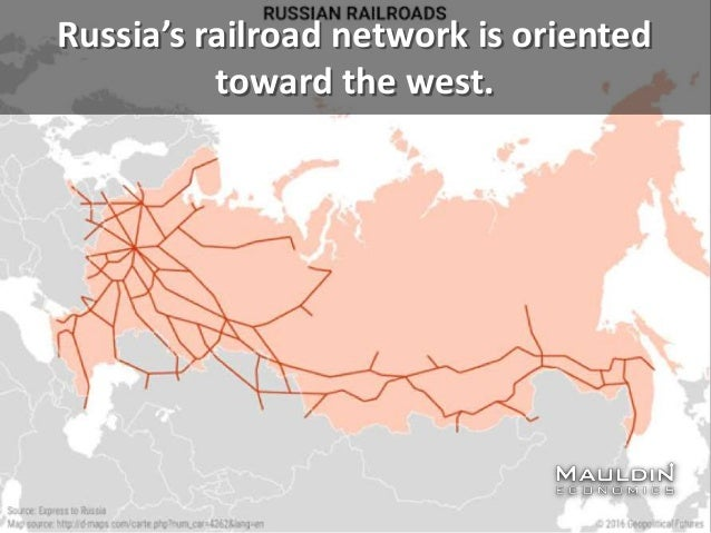 Russia's railroad network is oriented toward the west.