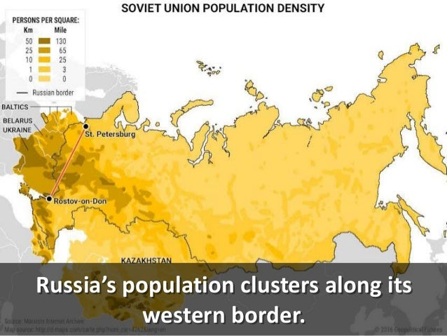 Russia's population clusters along its western border.