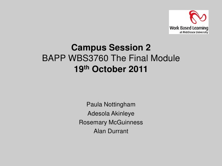 Campus Session 2BAPP WBS3760 The Final Module      19th October 2011         Paula Nottingham         Adesola Akinleye    ...