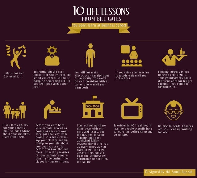 10 LIFE LESSONS FROM BILL GATES You won't learn at Business School Life is not fair, Get used to it The world doesn't care...