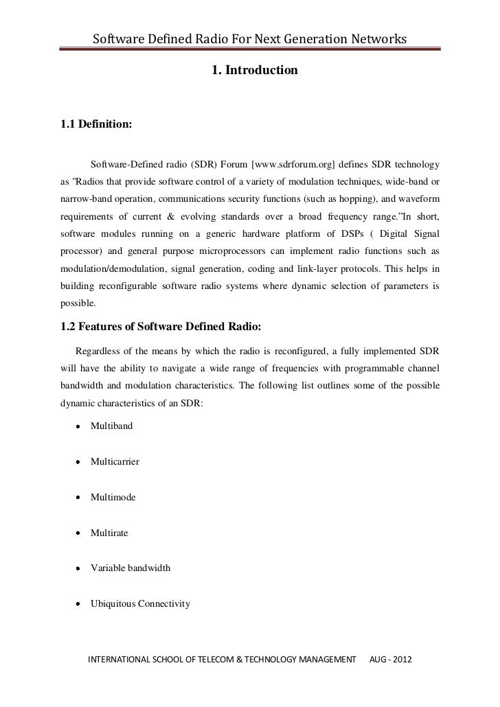 Software Defined Radio For Next Generation Networks                                     1. Introduction1.1 Definition:    ...