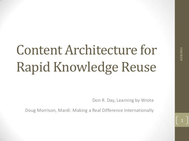Content Architecture for Rapid Knowledge Reuse<br />Don R. Day, Learning by Wrote<br />Doug Morrison, Mardi: Making a Real...
