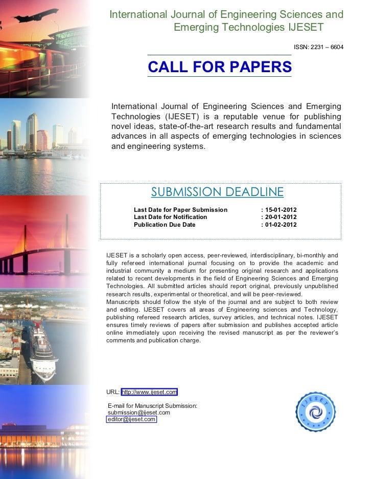 International Journal of Engineering Sciences and                Emerging Technologies IJESET                             ...