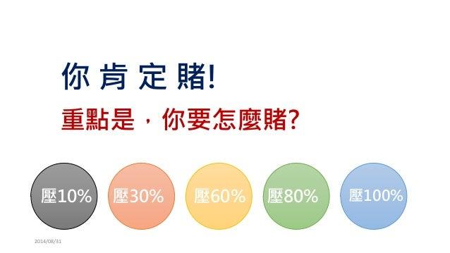 你肯定賭!  重點是,你要怎麼賭?  2014/08/31  壓10%  壓30%  壓100%  壓80%  壓60%