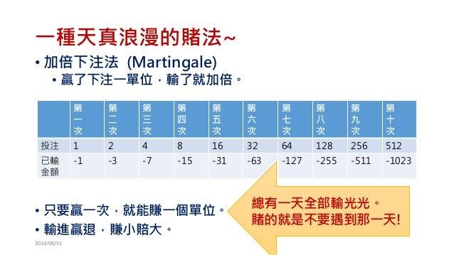 一種天真浪漫的賭法~  •加倍下注法(Martingale)  •贏了下注一單位,輸了就加倍。  •只要贏一次,就能賺一個單位。  •輸進贏退,賺小賠大。  第  一  次  第  二  次  第  三  次  第  四  次  第  五  次...