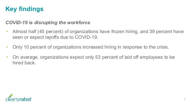 Key findings 5 COVID-19 is disrupting the workforce • Almost half (45 percent) of organizations have frozen hiring, and 39...