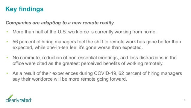 Key findings 6 Companies are adapting to a new remote reality • More than half of the U.S. workforce is currently working ...