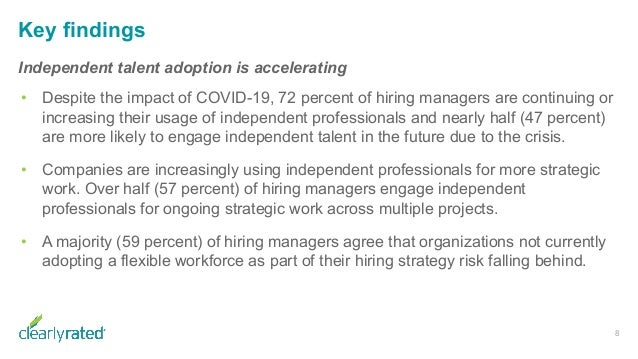 Key findings Independent talent adoption is accelerating • Despite the impact of COVID-19, 72 percent of hiring managers a...