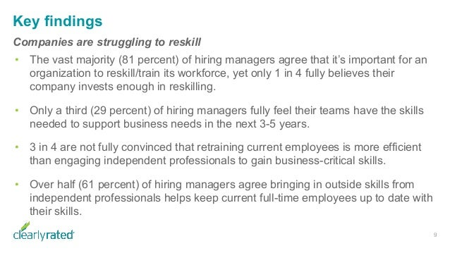 Key findings Companies are struggling to reskill • The vast majority (81 percent) of hiring managers agree that it's impor...