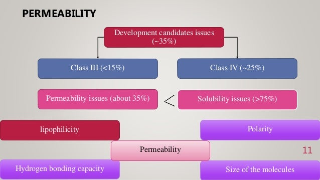 PERMEABILITY 11 Development candidates issues (~35%) Class III (<15%) Class IV (~25%) Permeability issues (about 35%) Solu...