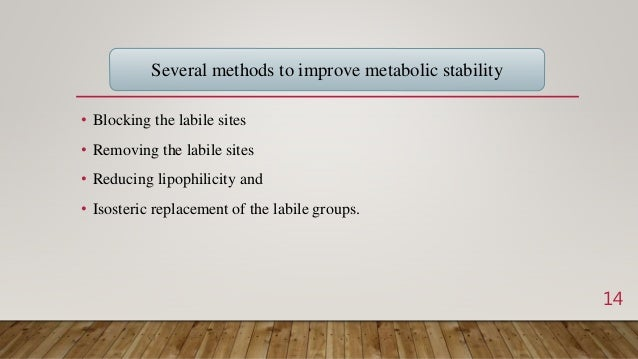 • Blocking the labile sites • Removing the labile sites • Reducing lipophilicity and • Isosteric replacement of the labile...
