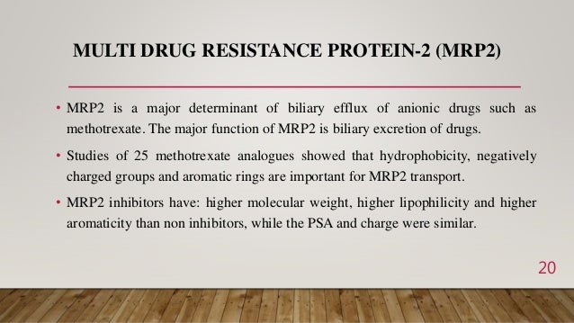 MULTI DRUG RESISTANCE PROTEIN-2 (MRP2) • MRP2 is a major determinant of biliary efflux of anionic drugs such as methotrexa...