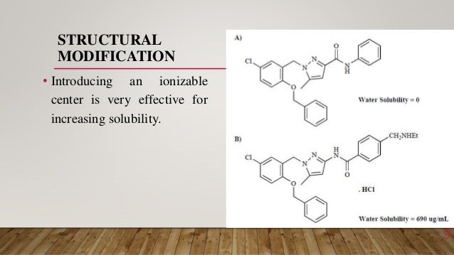 STRUCTURAL MODIFICATION • Introducing an ionizable center is very effective for increasing solubility. 9