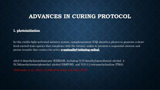 ADVANCES IN CURING PROTOCOL 1. photoinitiation In this visible-light-activated initiator system, camphorquinone (CQ) absor...