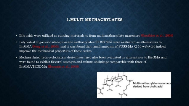 1.MULTI METHACRYLATES • Bile acids were utilized as starting materials to form multimethacrylate monomers (Gauthier et al....