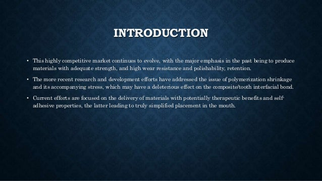 INTRODUCTION • This highly competitive market continues to evolve, with the major emphasis in the past being to produce ma...