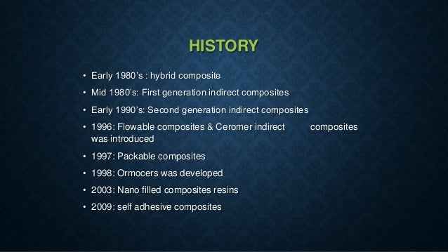 HISTORY • Early 1980's : hybrid composite • Mid 1980's: First generation indirect composites • Early 1990's: Second genera...